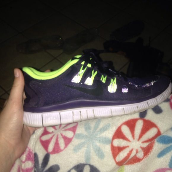 Nike free 5.0 Purple and neon yellow with reflective cheetah print water  repellent Nike free 5.0