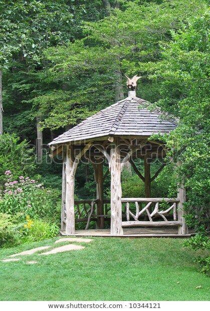 Rustic Gazebo Forested Backyard Perennial Joe Stock Photo (Edit Now) 10344121