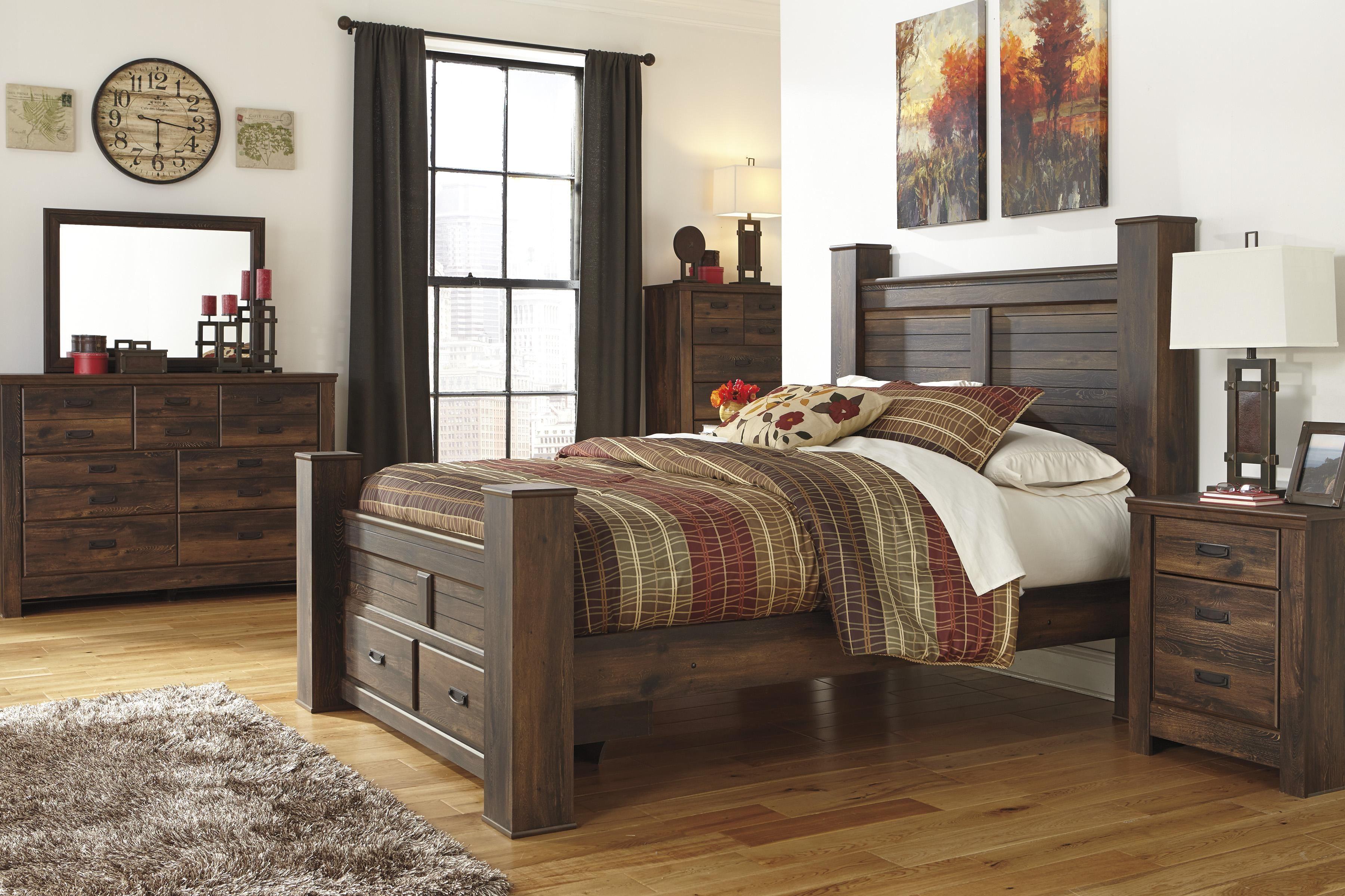 Signature Designashley Quinden Rustic Queen Poster Bed With Mesmerizing Signature Design Bedroom Furniture Decorating Design