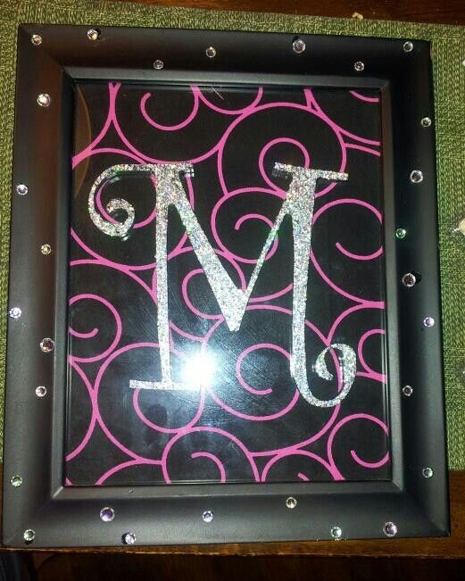 A Cheap Frame Rhinestones And Wood Letter From Hobby Lobby Plus Material For Background What I Came Up With Wood Letter Has Glitter Nail Picture Letters Wood Letters Christmas Gifts To