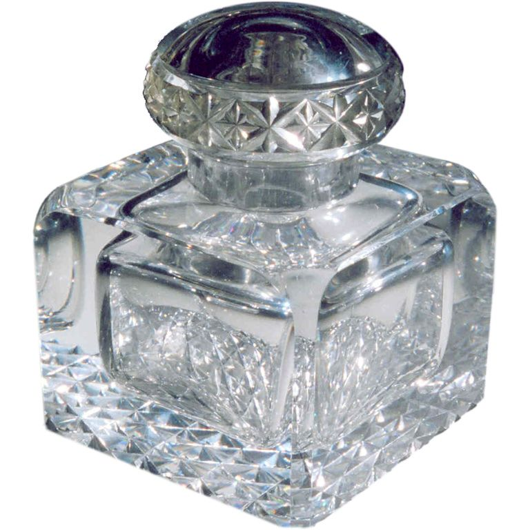 giant art deco inkwell, crystal  1920s, france
