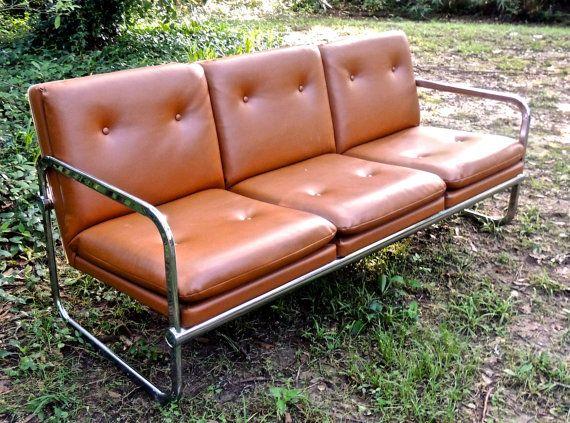 Vintage Chrome Sofa 1960s 70s Mid Century Tufted Brown Chrome Couch Sofa Milo Baughman Sofa Chrome Outdoor Sofa