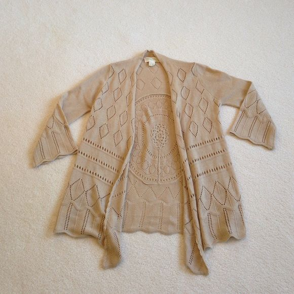 Boutique Flying Tomato open cardigan Flying Tomato open cardigan camel color from a local boutique ...size L...100% acrylic ...worn twice! Boho style so cute with a white tank and jeans! Flying tomato  Sweaters Cardigans