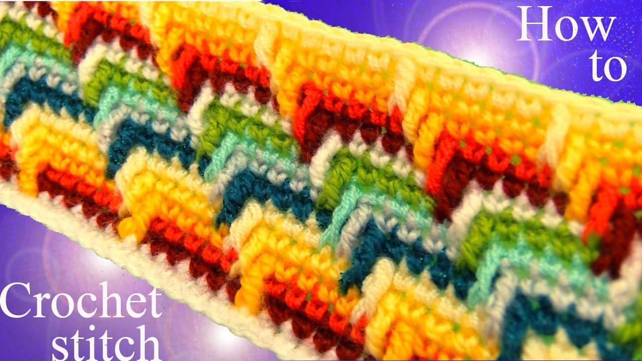 Como tejer punto maravilloso arcoíris a Crochet en rectángulo para manta...