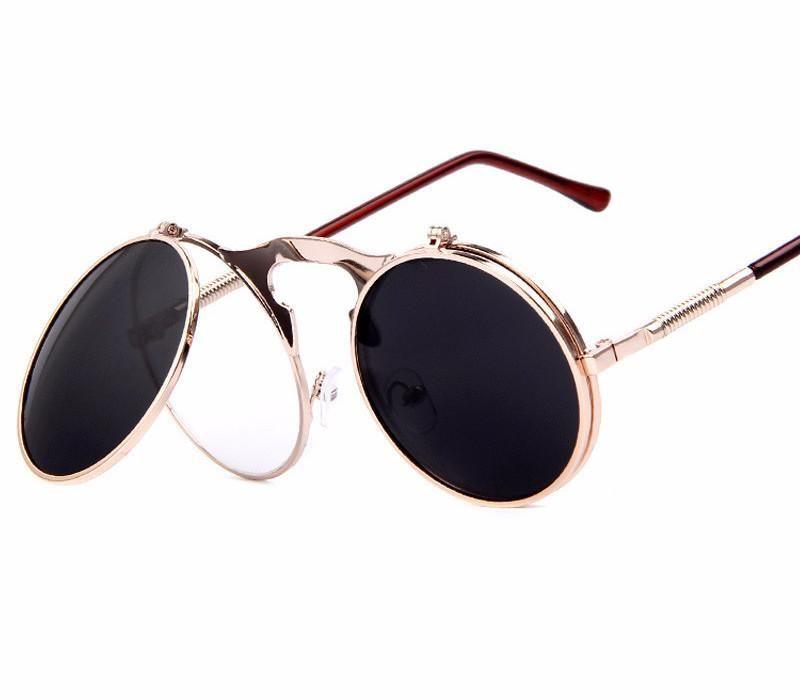 Punk Men Polarized Steampunk Sunglasses Women Round Metal Frame Charm Glasses