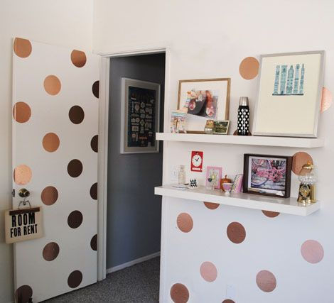 Contact Paper On Walls polka dotted walls made from metallic contact paper. love the idea