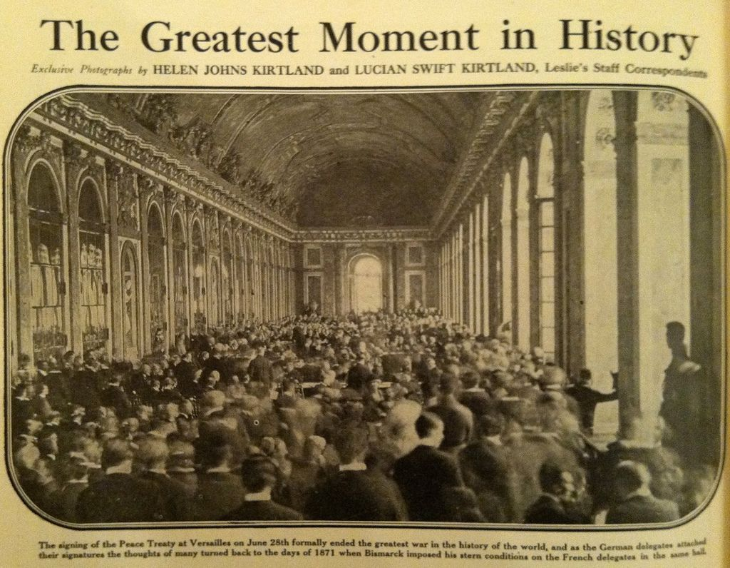 was the treaty of versailles to The treaty was signed today at versailles at 10:30 am washington time phillips and i sat in the telegraph room on the 4 th floor of the dept and had a direct wire from there to versailles - with only two relays, one at london and one at newfoundland, where it went into and came out of the submarine cable.