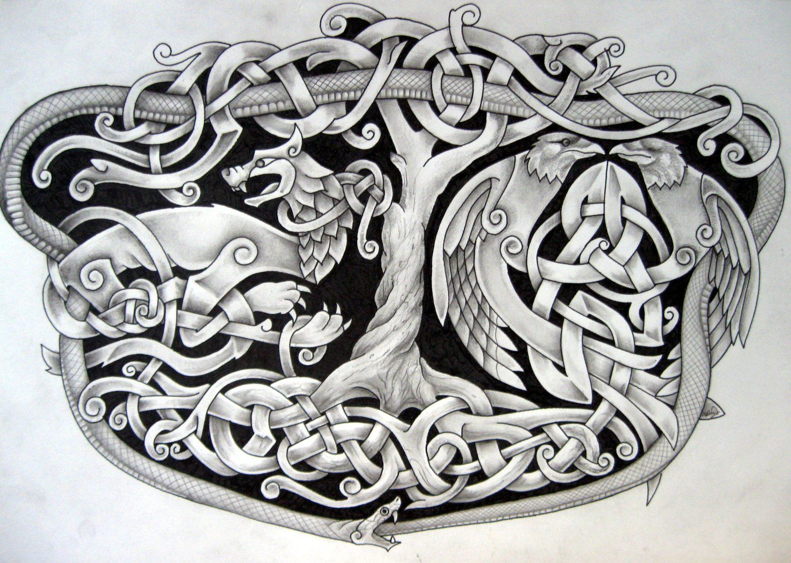 Norse Tattoo Idea Yggdrasil Intertwined With Fenrir Hugin And
