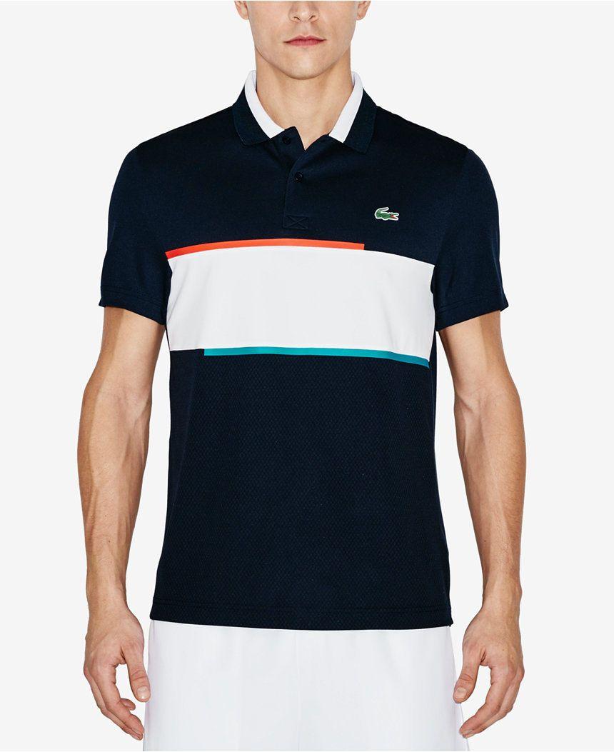 Lacoste Sport Navy Blue White Ultra Dry Mens Pique Knit Tennis Polo Shirt New Lacoste Men Lacoste Sport Polo