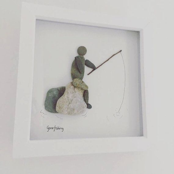 fishing gift, angler, grandpa gift, Gone fishing, pebble art, sea pebbles, beach theme, fish, fishing rod, fisher, gift for dad #grandpagifts