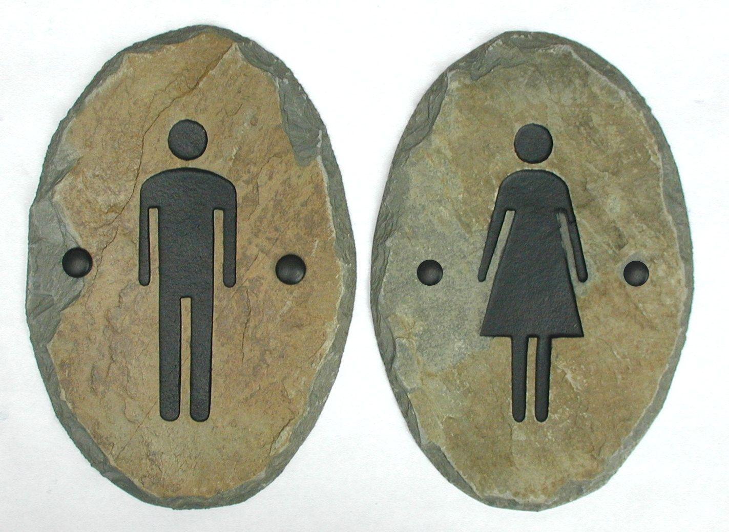 100 Bathroom Door Sign Men Blue Mens