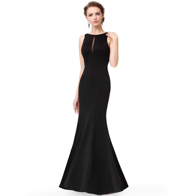 Womenus black mermaid formal evening party dress pageant prom