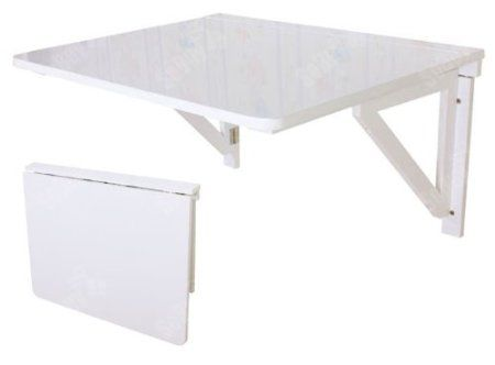 Sobuy fwt05 w table murale rabattable pliable en bois 75 60cm table de cuisine rabat blanc - Table de cuisine pliable ...