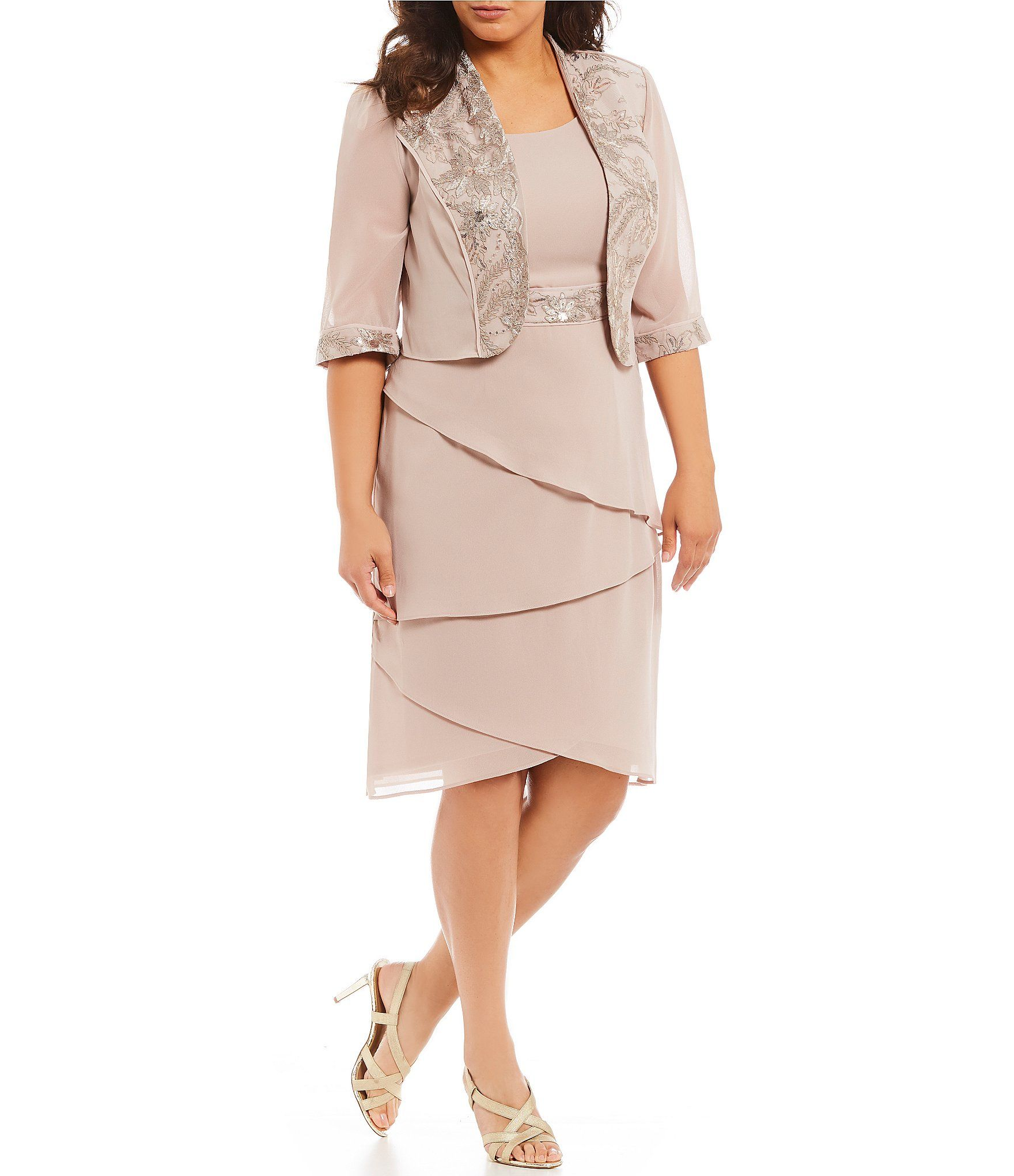 e0381cc8b6 Shop for Le Bos Plus Size 2-Piece Embroidered Trim Tiered Jacket Dress at  Dillards.com. Visit Dillards.com to find clothing