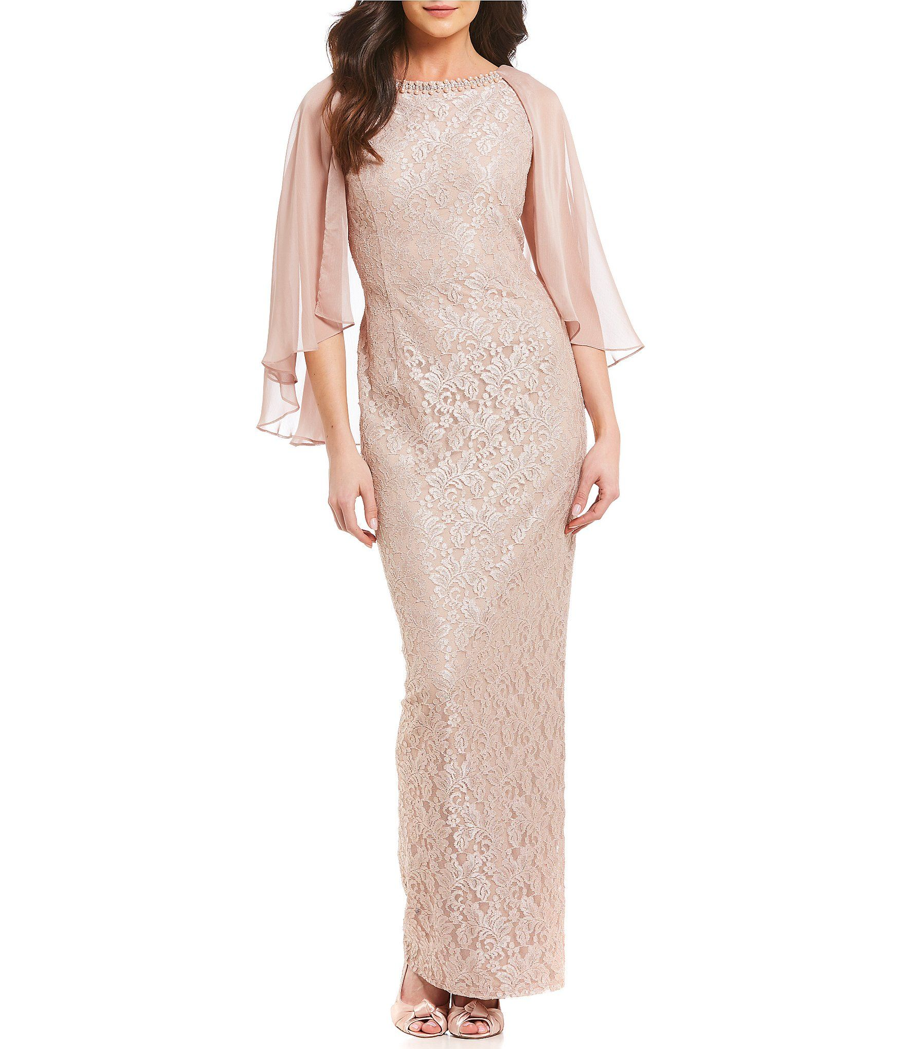 Shop for Ignite Evenings Glitter Lace Capelet Gown at Dillards.com ...