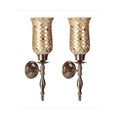 2 Glass Amber Mosaic Wall Sconce Votive Candle Holders Sconces