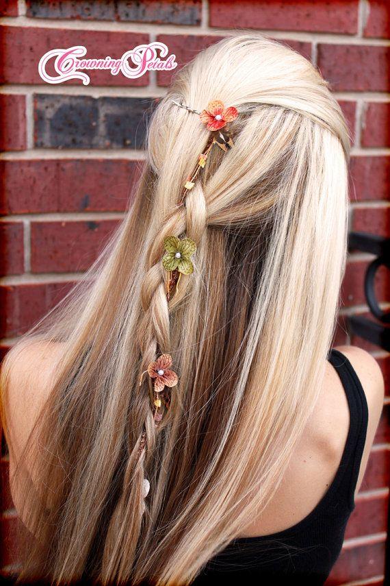 Flower Braid Strand Hair Clip Feather Floral Hair Extension