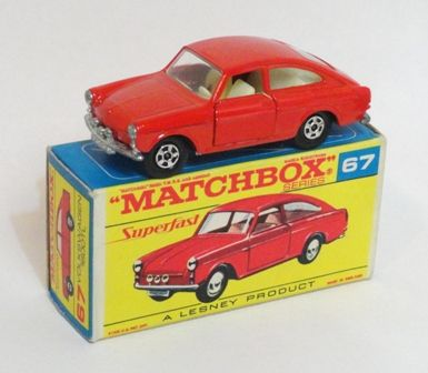 67a VW1600TL in 1st issue F Box with RED Script Superfast and rare RED body 67a…