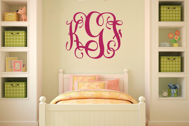 Fancy Vine Monogram Wall Decal, Teen Monogram Wall Decal, Fancy ...