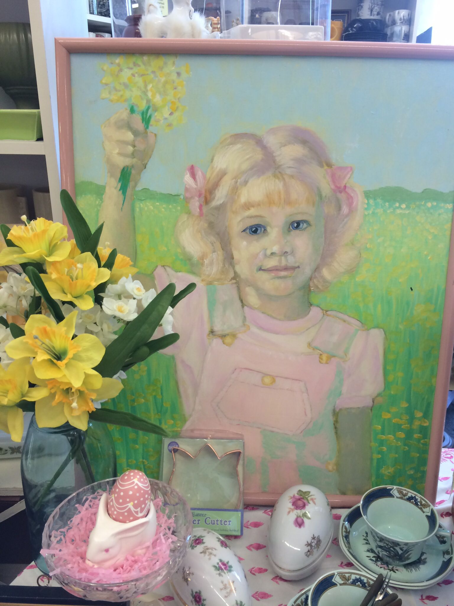 ~MarketPlace Antiques~ Lovely Painting - Girl with Daffodils