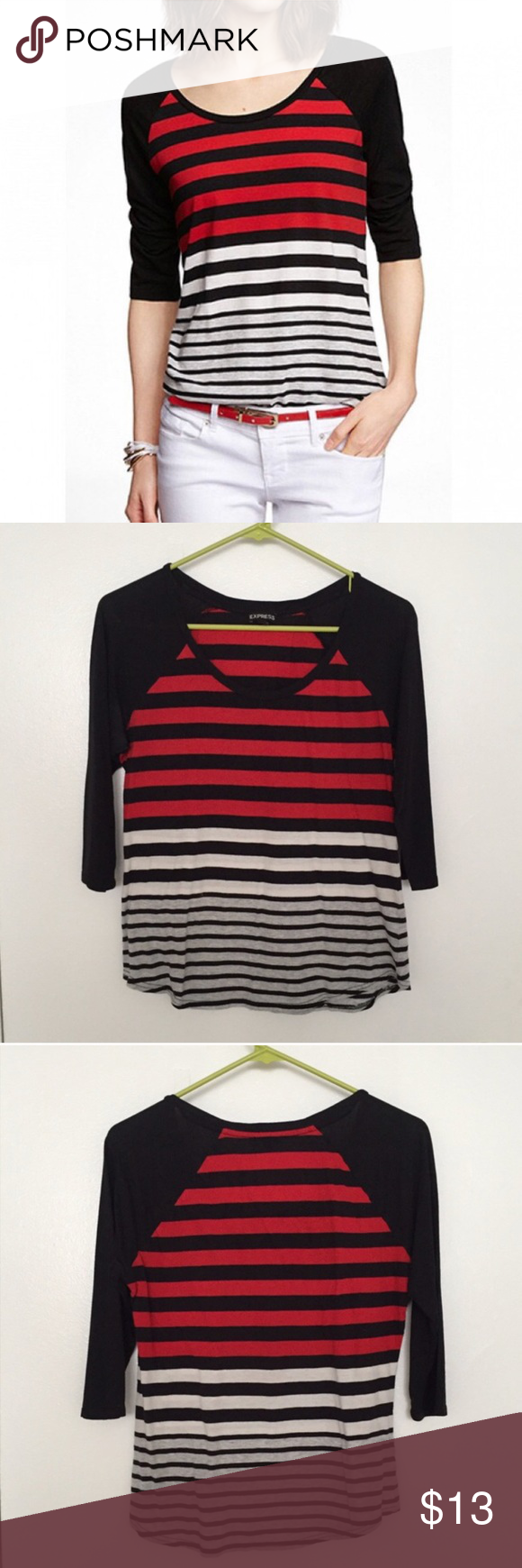 White t shirt express - Express Striped Top Baseball Tee Red Black Shirt Express Stylish Striped Baseball Tee In Red