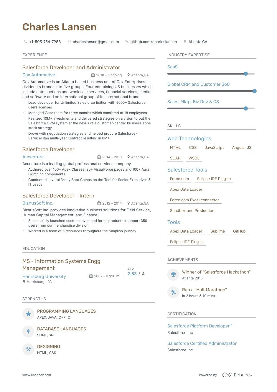 Salesforce Developer Resume Samples And Writing Guide For 2020