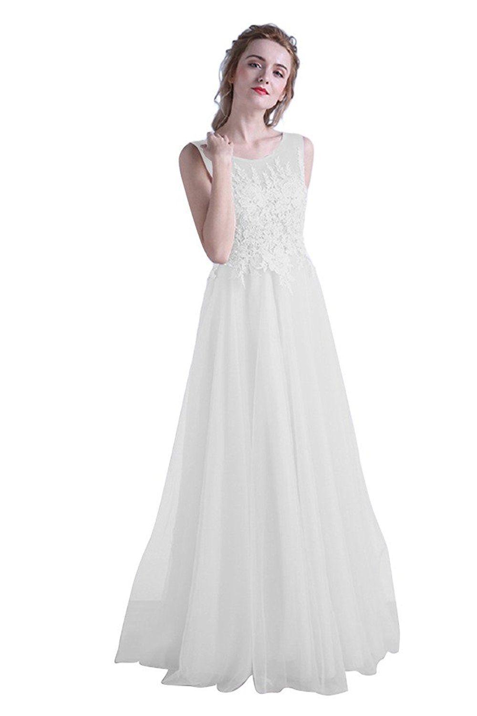 Besswedding womenus sexy long lace sleeveless tulle bridesmaid prom