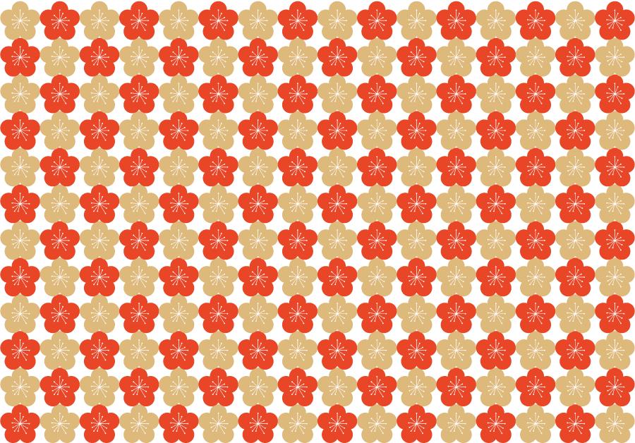 フリーイラスト 梅の花の和柄背景 Japanese Modern 梅の花 梅の花
