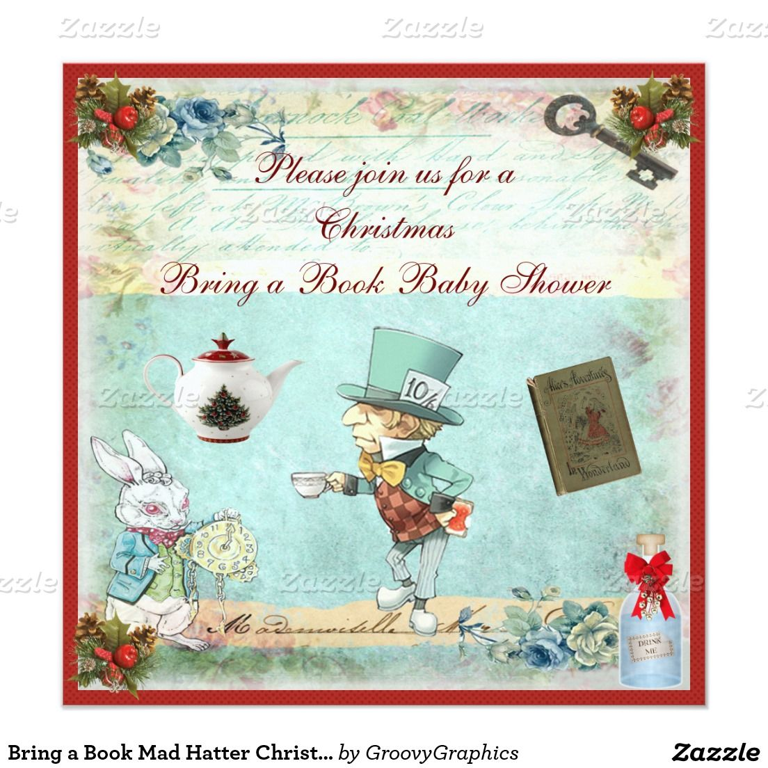 Bring a Book Mad Hatter Christmas Baby Shower Card | Christmas baby ...