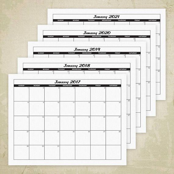 Through  Printable Yearly Calendars With Empty Boxes