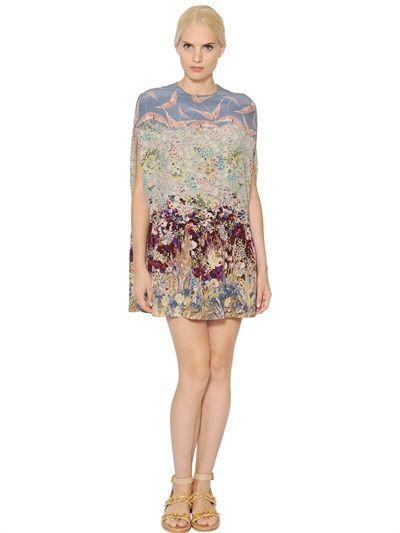 PRINTED SILK CREPE DE CHINE TUNIC DRESS