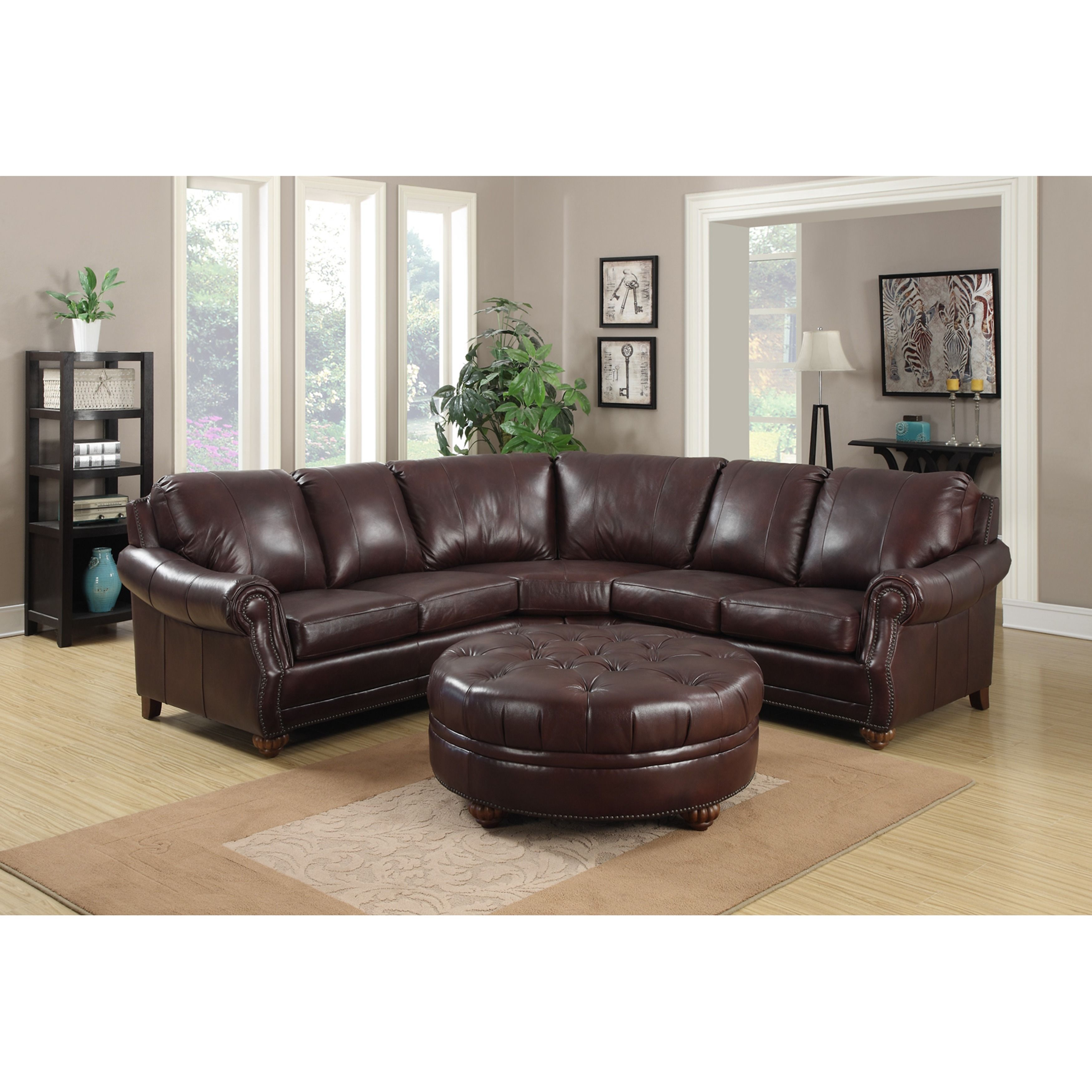 Peachy Troy Chestnut Brown Italian Leather Sectional Sofa And Unemploymentrelief Wooden Chair Designs For Living Room Unemploymentrelieforg