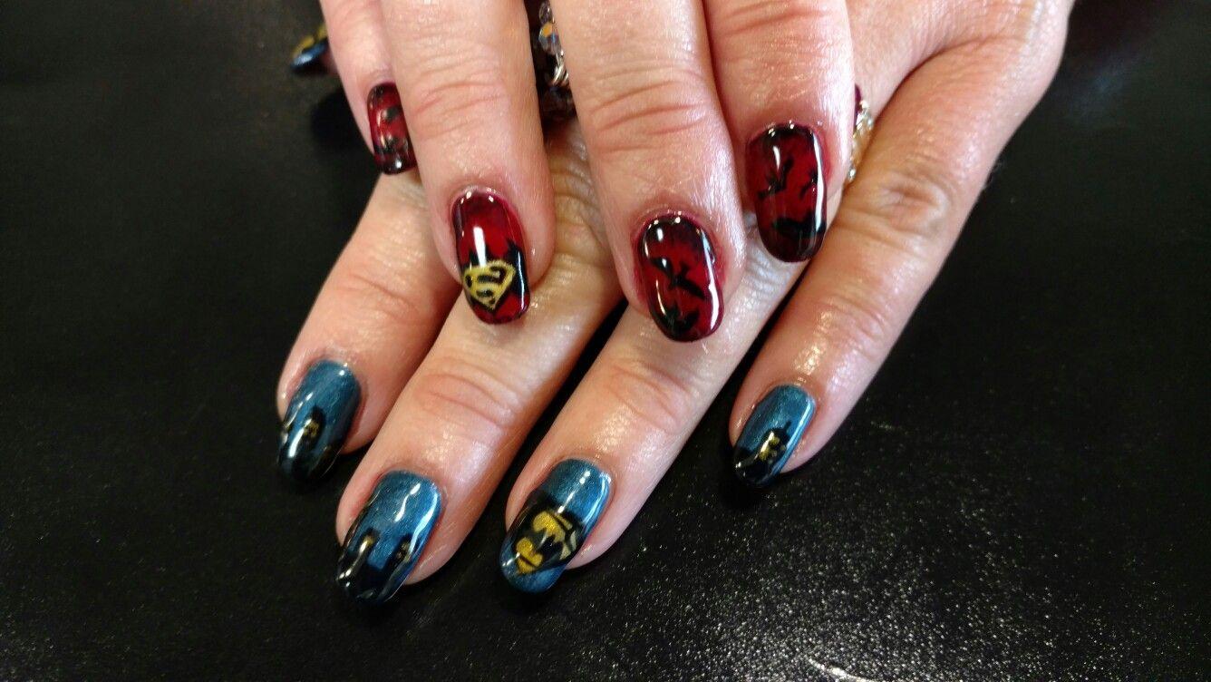 Superman Batman nail art | Batman nail art, Batman nails ...