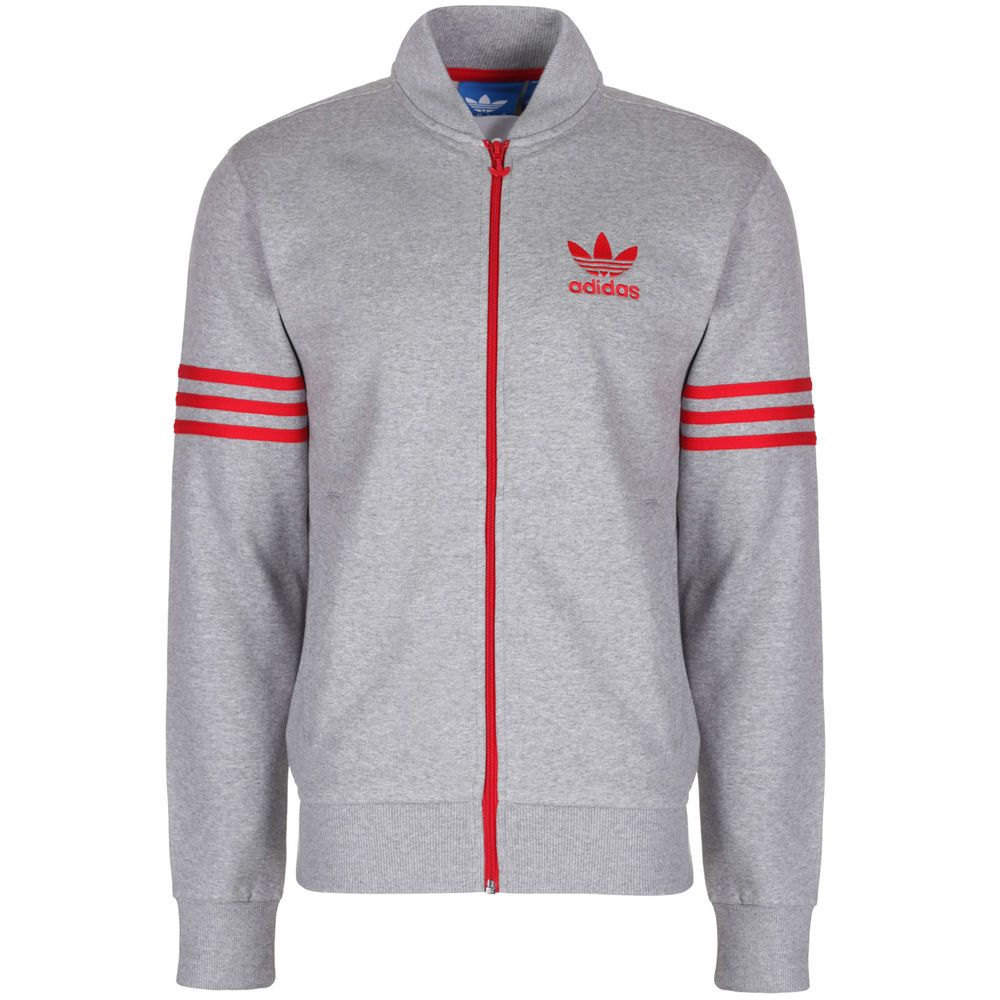 1fec5166f979 adidas Originals Mens Full Zip Fleece Tracksuit Top Track Jacket - Gray in  Clothing