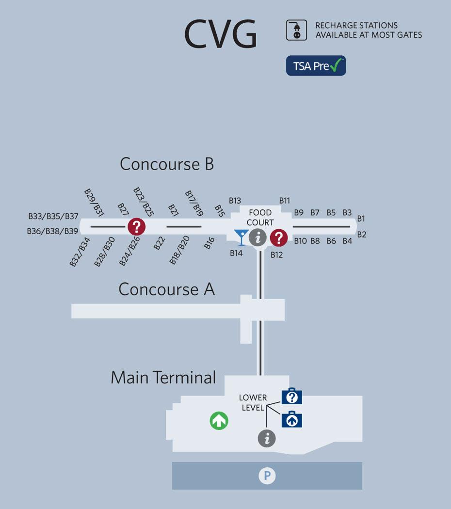 Cincinnati Airport Map Cincinnati Airport Map | Map Design | International airport, Map