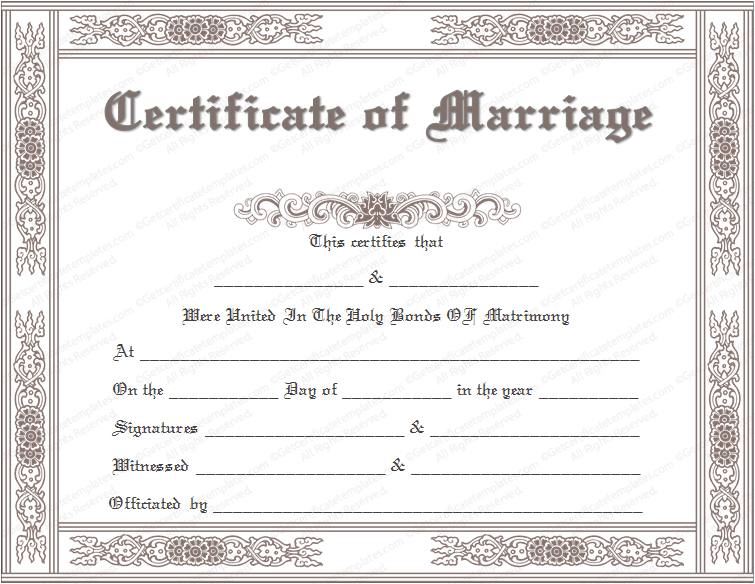 marriage certificate template template marriage marriage