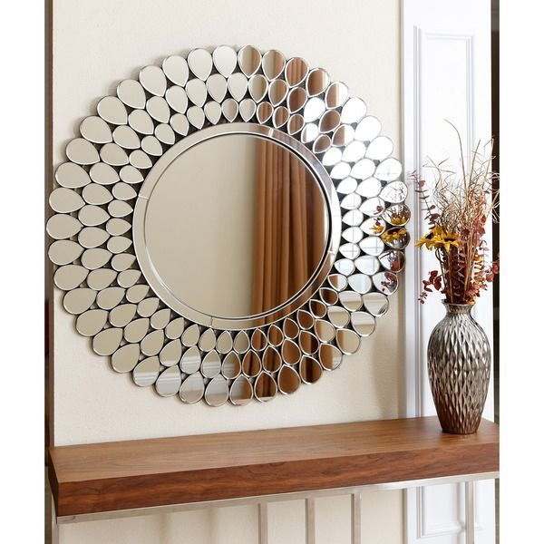 Abbyson Living Radiance Contemporary Round Silver Finish Frame Home Wall Mirror