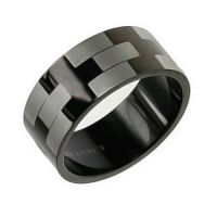 8mm Matte Black Stainless Steel Silver Etched Wedding Band Mens Ring