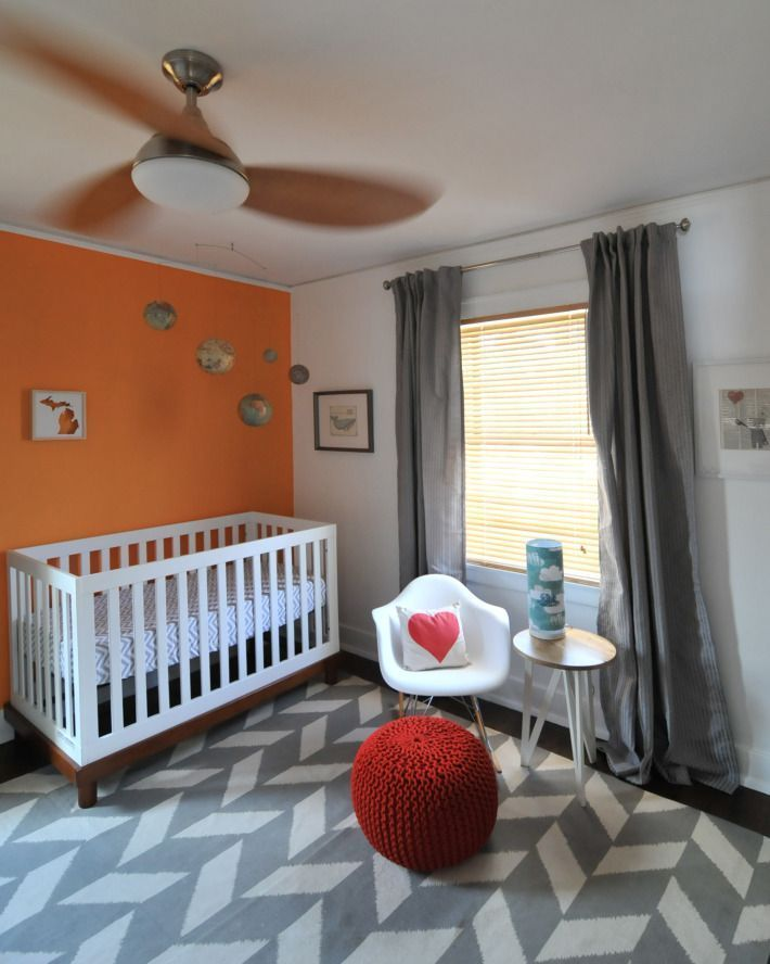 The Girl's Room Becomes the Nursery #TravelNursery #ApartmentTherapy #graybedroomwithpopofcolor The Girl's Room Becomes the Nursery #TravelNursery #ApartmentTherapy - Modern kids room, Nursery neutral, Grey baby room, Grey bedroom with pop of color, Orange nursery, Toddler bedrooms - #Modernkids #room #graybedroomwithpopofcolor The Girl's Room Becomes the Nursery #TravelNursery #ApartmentTherapy #graybedroomwithpopofcolor The Girl's Room Becomes the Nursery #TravelNursery #ApartmentThera #graybedroomwithpopofcolor