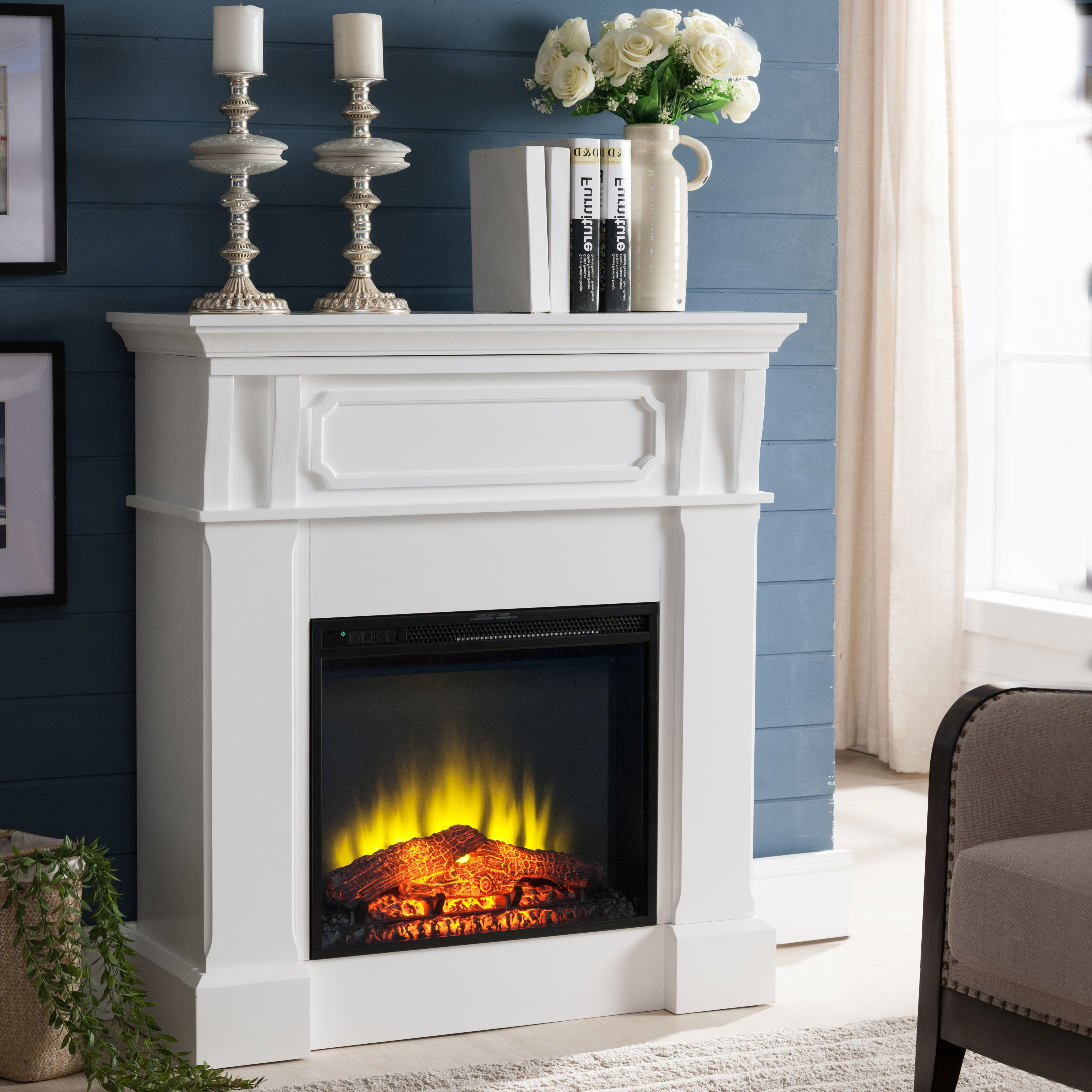 Prokonian Free Stand Electric Fireplace With 40 Mantel White Walmart Com Free Standing Electric Fireplace Electric Fireplace Heater Electric Fireplace
