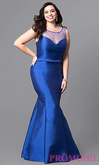 Royal Blue Plus-Size Long Mermaid Prom Dress in 2019 | Plus ...