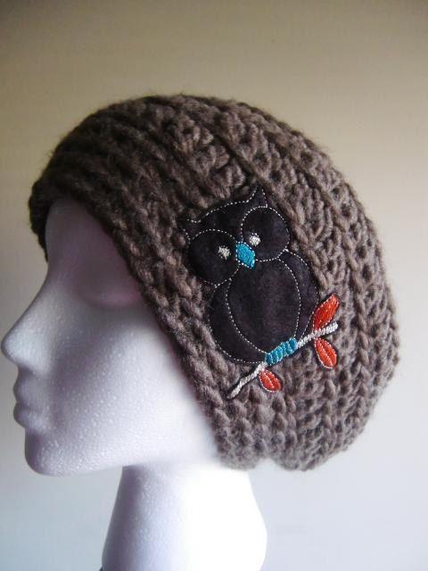 Cocoa Owl Crochet Slouchy Tuque Hat | Handschuhe häkeln, Häkeln ...