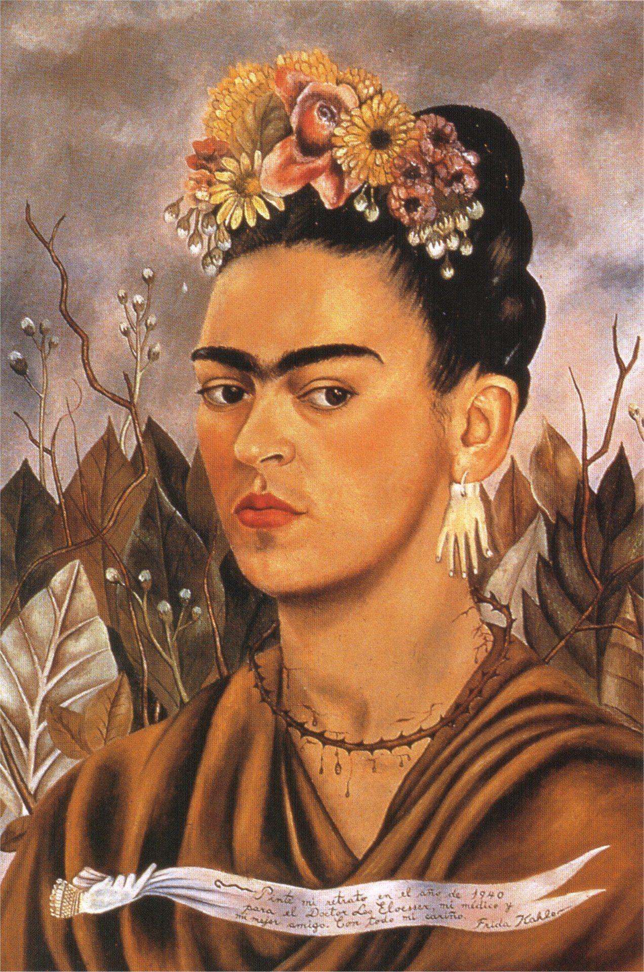 Self Portrait Dedicated to Dr Eloesser, 1940, Frida Kahlo Size: 59.5 ...