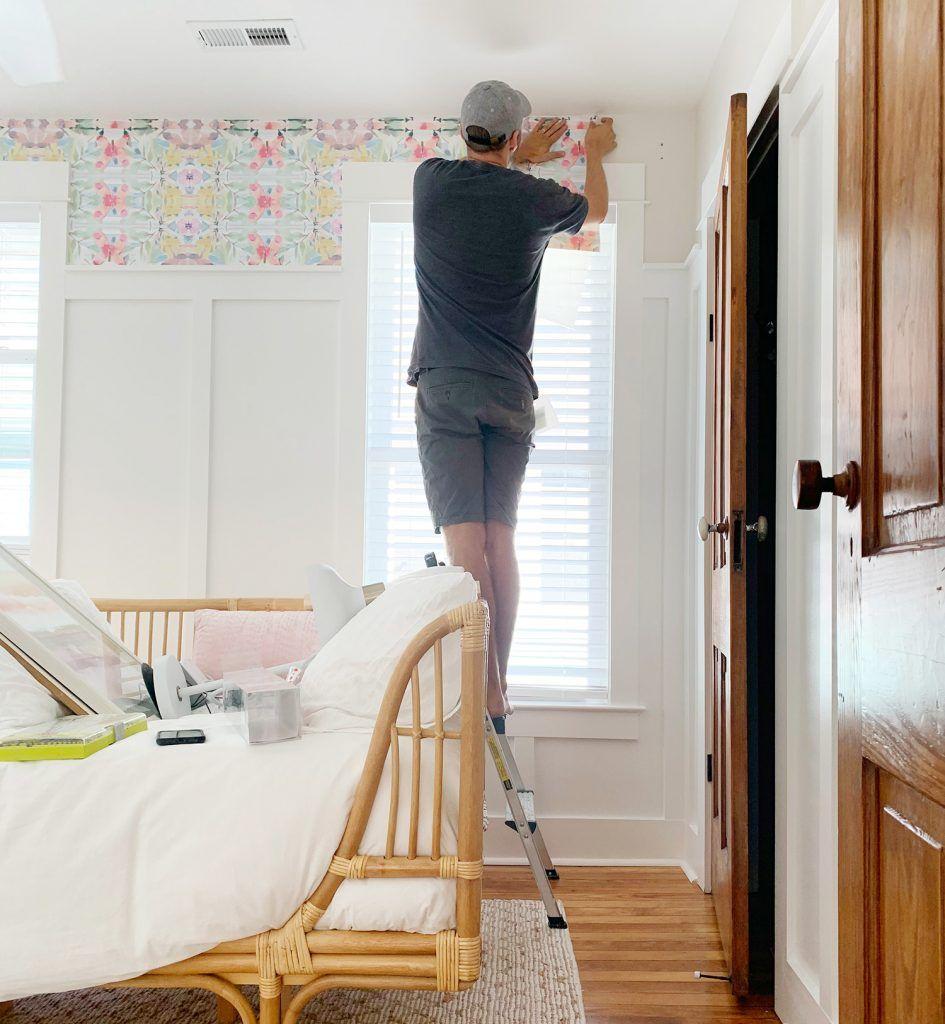 How To Hang Peel Stick Wallpaper On Video Young House Love Peel And Stick Wallpaper Young House Love Girl S Room