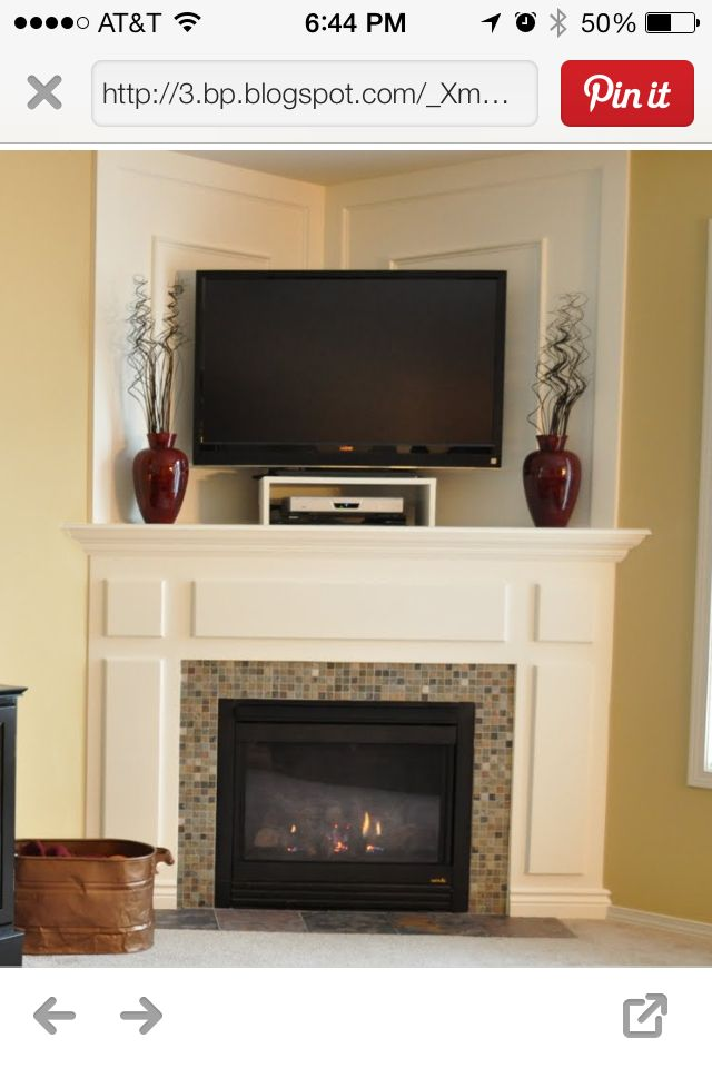 Idea For My Corner Fireplace Corner Fireplace Corner Mantle