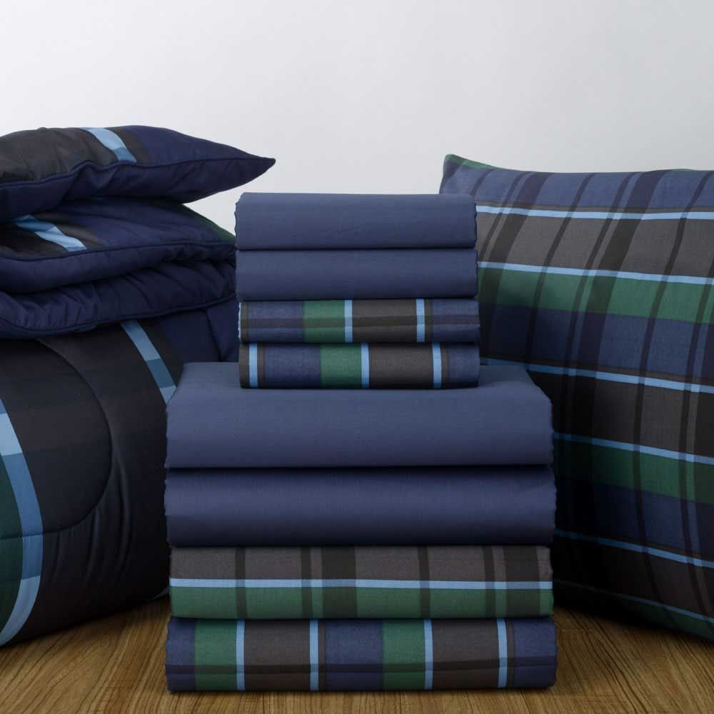 navy sheets and navy hampton plaid comforter find this sheet set and patterned comforter in