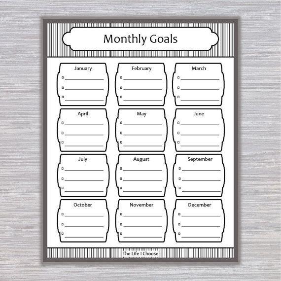 Monthly Goals Printable Monthly Task Checklist Organizer - task list format