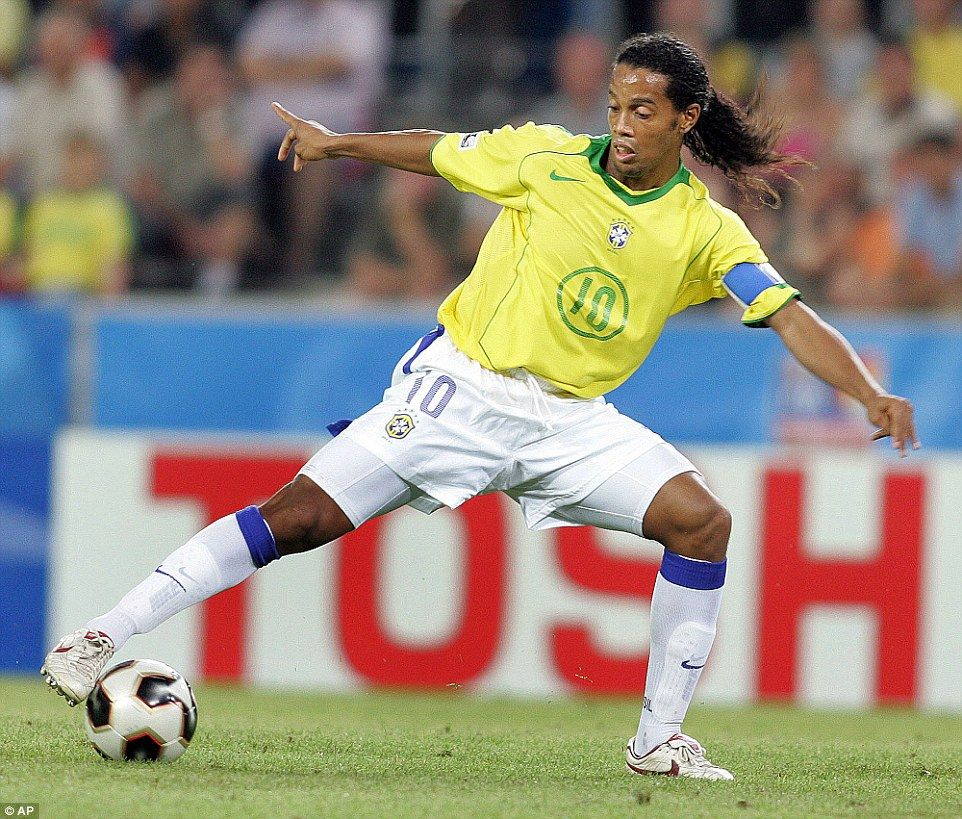 Winner Ronaldinho in action for Brazil at the 2002 World Cup in