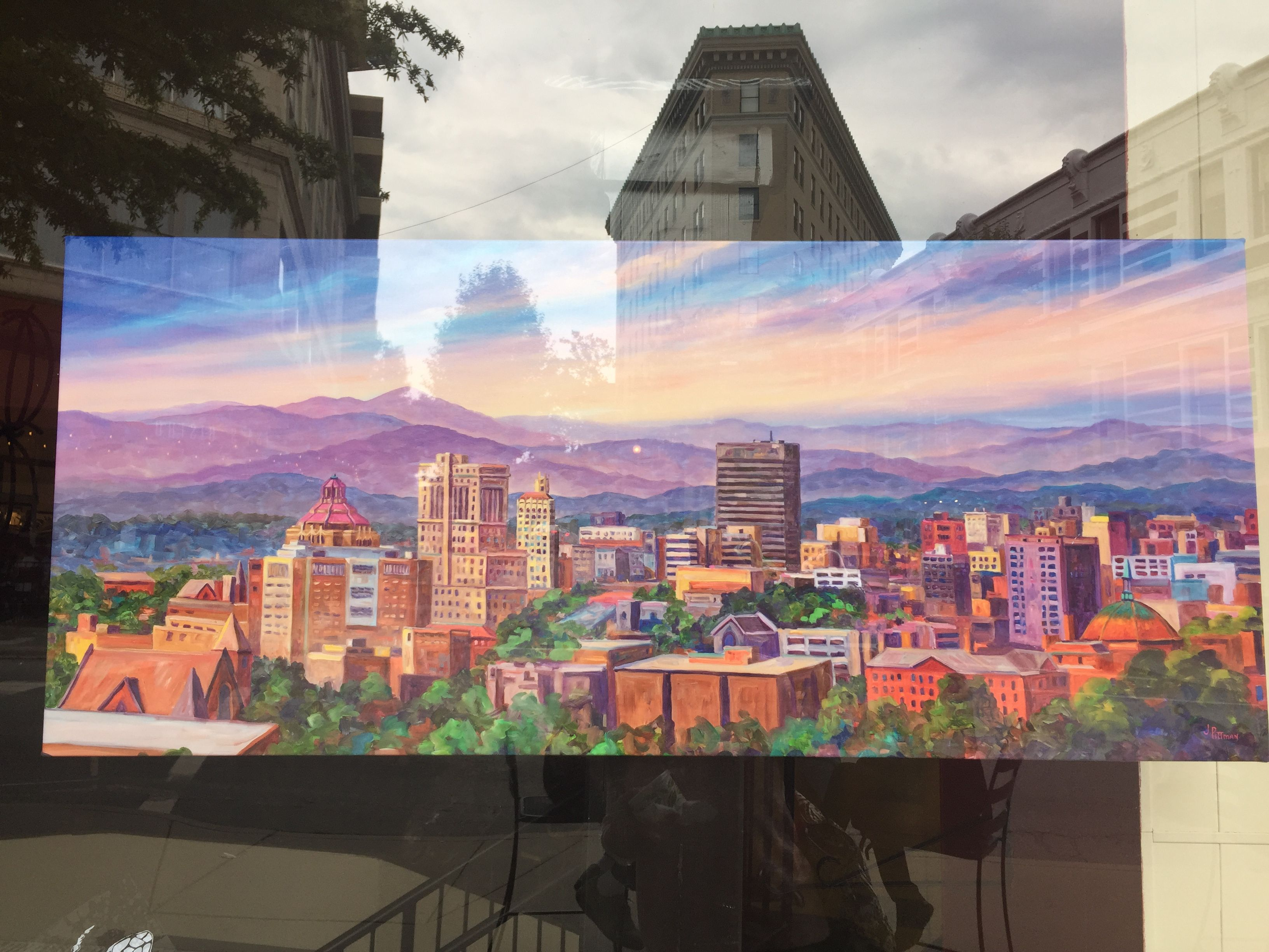 Asheville skyline painting art skyline