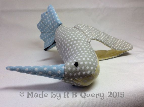 Hummingbird out of cotton  grey yellow & blue with by RBQuery
